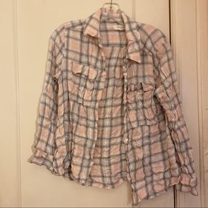 Two by Vince Camuto Pink Grey Plaid Shirt M